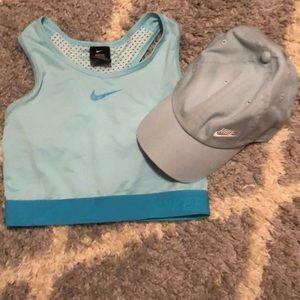 Nike sport bra xs nike hat